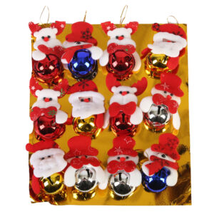 12 Piece Tree Decorations With Ringing BellSanta Face With Beard - Aramis Trading