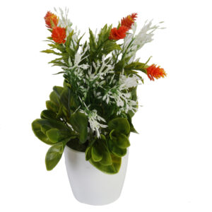 Artificial Potted Plant With Orange Flowers - Aramis Trading