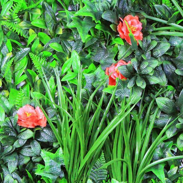 Artificial Greenwall With Red Rose - Aramis Trading