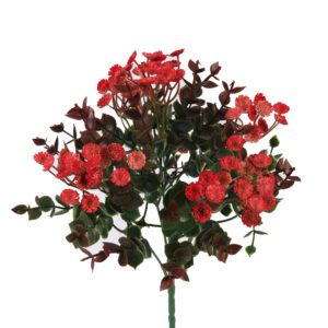 Artificial Red Flower Bushes Green Leaves - Aramis Trading