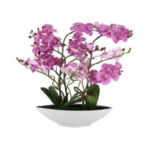 5 Pcs Butterfly Light Purple Orchid On White Ceramic Pot - Aramis Trading