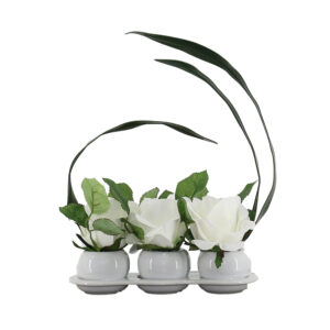 3 White Rose On White Ceramic Pot - Aramis Trading