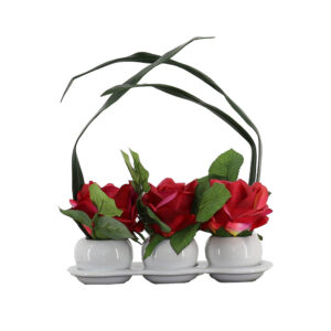 3 Rose On White Ceramic Pot - Aramis Trading